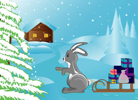 Winter bunny with presents Stock Vector - 16864422