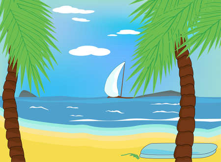 Tropical beach landscape Stock Vector - 17099507