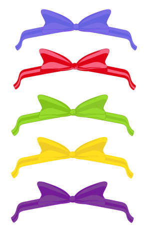 Five festive bows with ribbons, different colors