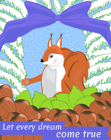 Celebrating Squirrel among the nuts with happy wishes Illustration