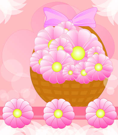 Beautiful basket with flowers Vector