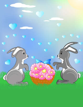Two funny bunnies on the meadow with the flowers