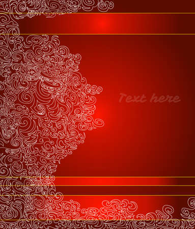 Red greetings card with decorative elements