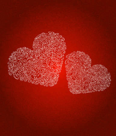 Red hearts abstract background