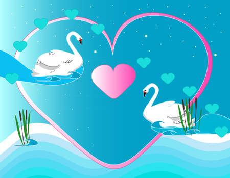 Beautiful background with two swans in love Vector