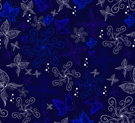 Seamless vector pattern with the butterflies