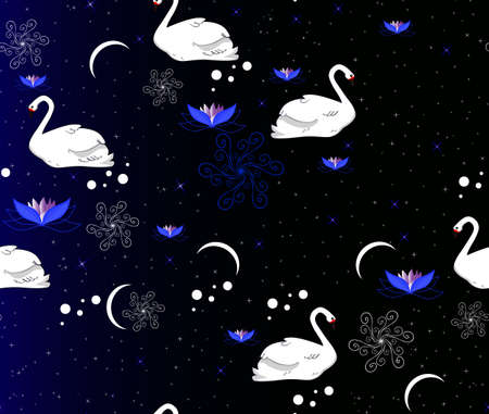 Seamless pattern with the swans, stars and flowers