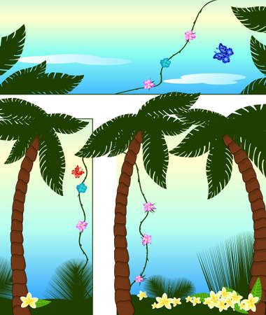 Beautiful tropical composition with the palm trees Illustration