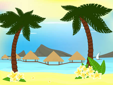 Tropical seaside with palm trees, bungalow and mountains  Illustration