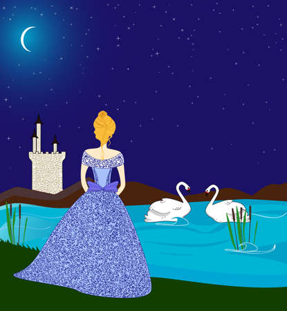 Young beautiful lady in the moonlight near the lake Stock Vector - 18305453