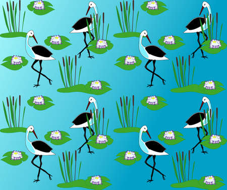 bog: Bog seamless with herons