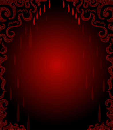 Beautiful red frame with blood drops Illustration