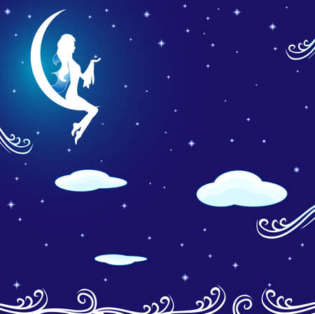 Little angel in the starry sky Vector