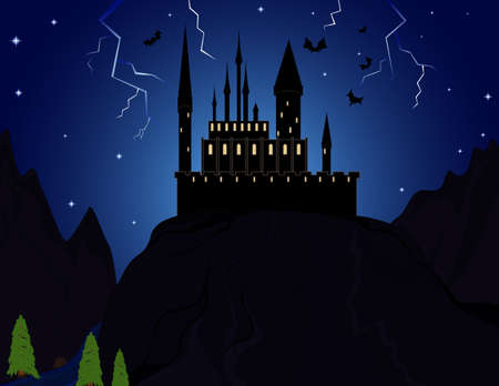Vampire castle in the mountains with flying bats Vector