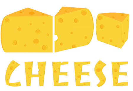 morsel: Three pieces of cheese, isolated objects on the white background with text Illustration