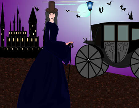 Beautiful vampire woman near the castle at the evening street Vector