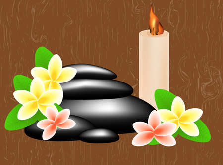 Spa concept with massage stones, flowers and candle on a wooden background Vector