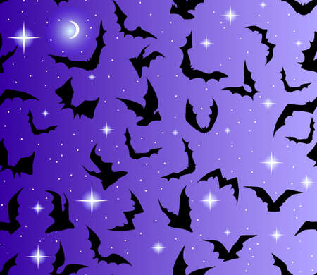 Beautiful seamless with bats and stars Vector