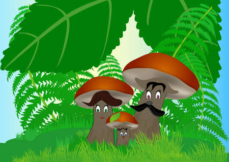 Mushroom family in the forest under the leaves