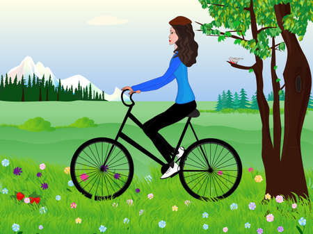 Beautiful girl on a bike at the spring meadow Stock Vector - 19239555