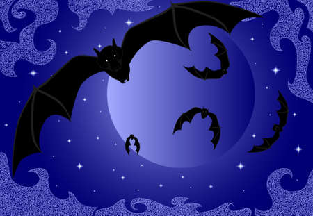 Cute flying bats on the night full moon background Stock Vector - 19239553