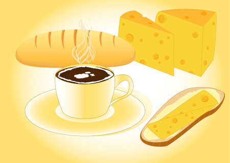 Tasty breakfast illustration with coffee, bread, cheese Vector