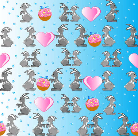 Cute seamless with bunnies, hearts and flowers Vector