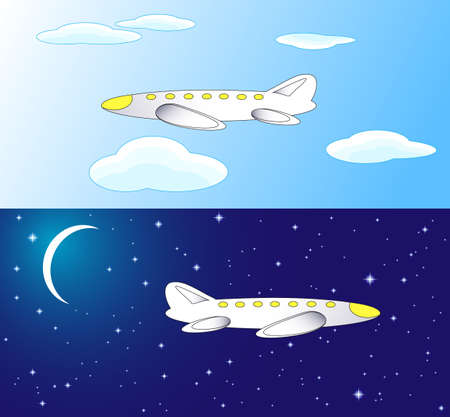 Two airplanes  one of them is flying in the daytime; the second is flying by the night Vector