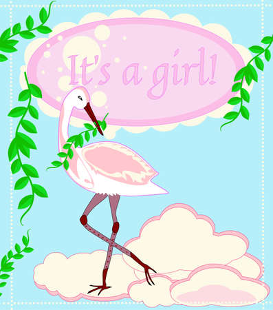 Beautiful pink baby frame for a newborn girl with a nice stork Illustration