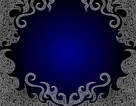 creative background: Luxury white frame on the blue background Illustration