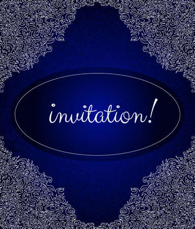 Beautiful blue invitation frame with curling elements and corners