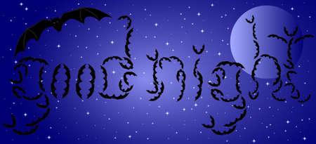 good night: Beautiful card wishing good night with flying bats Illustration