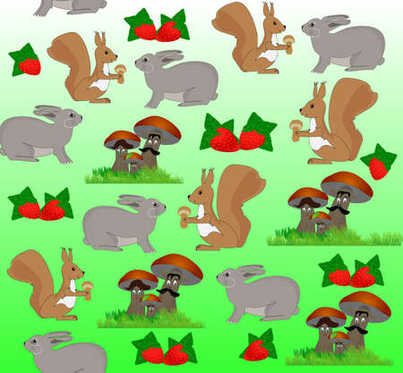 Cute cheerful seamless pattern with forest animals, mushrooms and berries  Vector