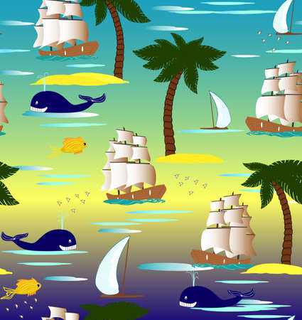 Cute tropical seamless pattern with ships, palms and whales Vector