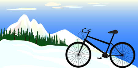 treadle: Illustration of a sport bike on a mountains background