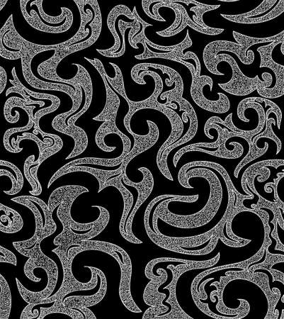 twiddle: Cute black and white seamless pattern with abstract curling figures