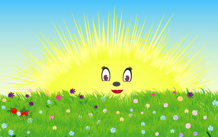 Cute childish illustration of a shining smiling sun