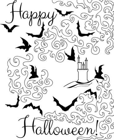 Beautiful Halloween graphic card with flying bats  Happy Halloween  Illustration
