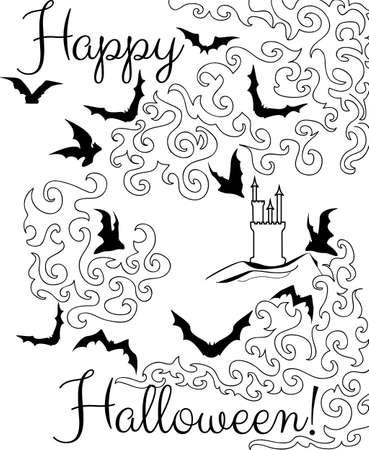 Beautiful Halloween graphic card with flying bats  Happy Halloween Stock Vector - 21974468