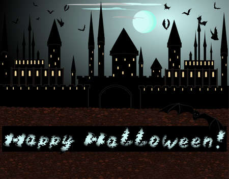 dracula castle: Beautiful Halloween background  You can also use it as a Halloween card, or an invitation to the party