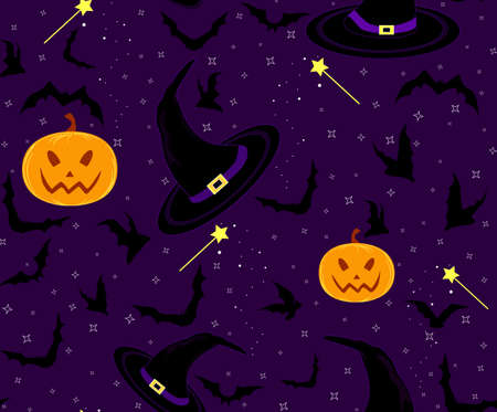 samhain: Beautiful Halloween seamless pattern with pumpkins, bats and witch hats