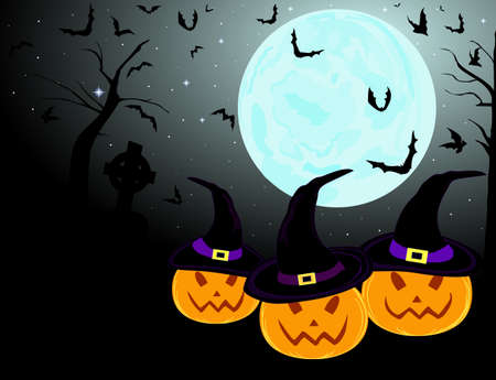 Three beautiful smiling pumpkins on the full moon background with bats for your Halloween background Vector