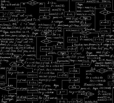 Belle seamless avec le diagramme de flux de programme et le code Banque d'images - 22846442