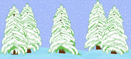 Winter landscape with beautiful snow covered fir trees Vector