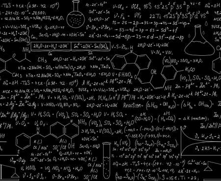 Beautiful chemistry seamless pattern with equations, formulas and laboratory equipment