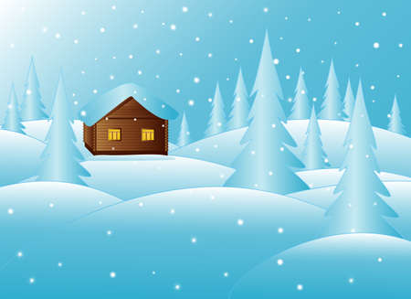 Beautiful little house in winter forest in the New Year s eve Vector