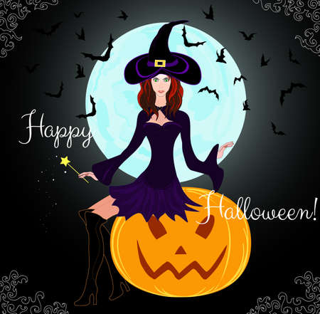 Beautiful Halloween card with young witch sitting on a pumpkin  Happy Halloween   Vector
