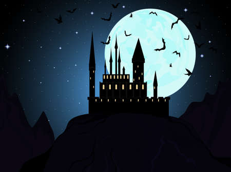 samhain: De fondo de Halloween, castillo del vampiro en las monta�as con los murci�lagos