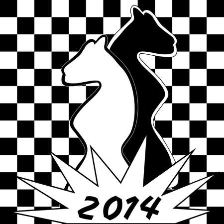Cute chess background with two horses -- symbol of the year 2014  You can use it as a new year greeting card