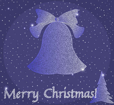 Beautiful Merry Chritmas card with curling christmas bell and a new year tree  Vector